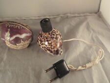 Vintage  Pompeii souvenir Tiger Cowrie Cowry shell lamp engraved
