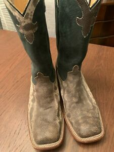 Men's Anderson Bean Cowboy Boots 9.5 9 1/2 M  Water Snake Gray Pre Owned