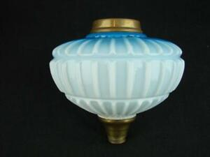 VICTORIAN MOULDED GRADUATED BLUE GLASS OIL LAMP FONT, RIBBED DECORATION
