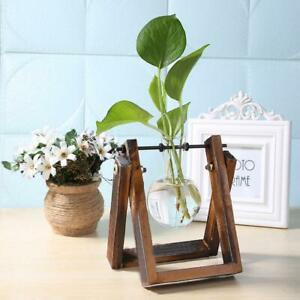 Glass Hanging Pots with Wooden holder Table Terrarium Hydroponics Flower Pots