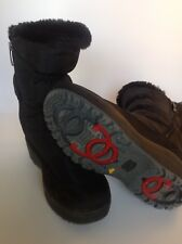Pajar Winter Boots With Flip Down Traction Ice Snow Grips Sz 5.5 Black Fur Lined