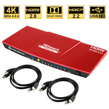 TEsmart 4 Port 4K HDMI 2.0 KVM Switch with Ultra HD USB 2.0 IR Hot Key HDCP 2.2