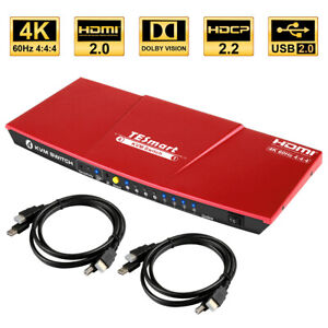 TEsmart 4 Port 4x1 HDMI KVM Switch HDR USB 2.0 IR Hot Key 3840*2160@60Hz 4:4:4