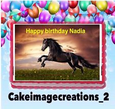 Horse Decoration  Birthday Cake Image Party Edible Topper 1/4 Sheet