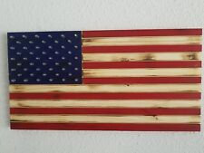 """Rustic Wooden American flag Americana Patriotic with bullets, 13"""" x 23"""""""