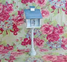 Vintage Style Tiny White Wood Faux Bird House Blue Roof Indoor Easter Christmas