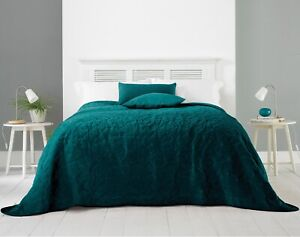 Luxury Geometric Velvet Quilted Bedspread Throwover Bed Throw Double King Green