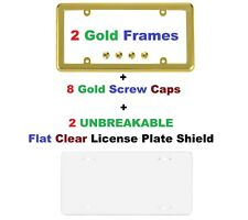 2 UNBREAKABLE Flat Clear Shield + 2 Gold Frame + 8 Gold Screw Caps for Cars