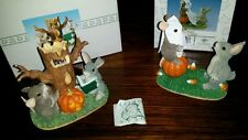 2 Charming Tails Fitz Floyd Boooo & Ghost Stories Halloween Mouse Bunny Mint Box