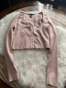 Victoria's Secret Moda International Pink Crop Cardigan Sweater Small
