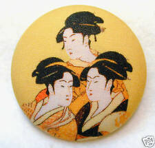 Japanese Geisha Fabric Covered Button 3 Ladies FREE US SHIPPING