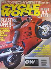 Cycle World Magazine January 1994 Ducati 916 Monster 600 Yamaha YZF750 Guzzi