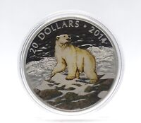 2014 Canada $20 Iconic Polar Bear - Coloured Fine Silver Coin