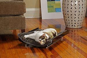 """NEKO HABITAT Luxe SMOKE """"Cradle"""" Acrylic Pet Bed w/ reversible cushion"""