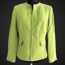 TAHARI ASL Women's Size 6 Green Rayon Blend Zip Front Career Blazer