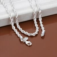 "925 Sterling Silver Women's Rope Chain Link 20"" Necklace +FreeGiftPkg D157"
