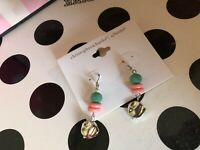 Christopher & Banks CJ banks Womens girls luxury Earrings teal and pink silver