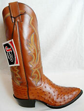 New JUSTIN 6.5 EE Cognac Full Quill OSTRICH Made In USA Cowboy Boot OLD STOCK