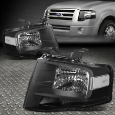 FOR 2007-2014 FORD EXPEDITION PAIR BLACK HOUSING CLEAR SIDE HEADLIGHT/LAMP SET
