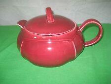 Burgundy Red Immitation Porcelain Teapot Casserole Pot Dish & Lid