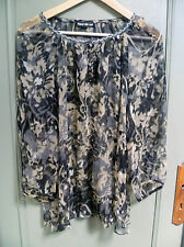 Tunique, blouse, chemise 100% soie Fleurs de sel. Taille 40/42