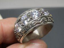 Turkish Handmade Jewelry 925 Sterling Silver Zircon Stone Men's Ring Sz 11