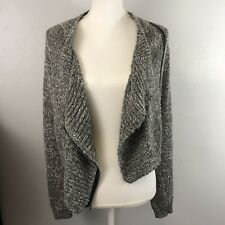 Hollister Womens Small Gray Black White Cotton Knit Moto Zip Fitted Jacket