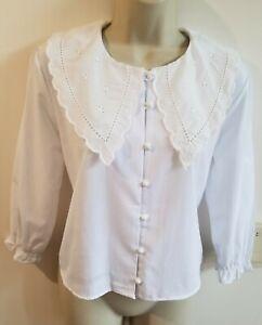 New Stunning Cotton Poplin Size M 10 12 Broiderie Collar Blouse Boho Peasant