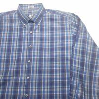 Peter Millar Mens Oxford Shirt Blue Plaid Long Sleeve Pocket 100% Cotton XL