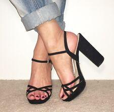 Topshop Negro Gamuza Peep Toe Zapatos De Tacón Bloque De Plataforma y Correa en el tobillo Talla 6
