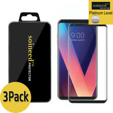 [3-Pack] SOINEED LG V30 + [3D Full Cover] Tempered Glass Screen Protector Black