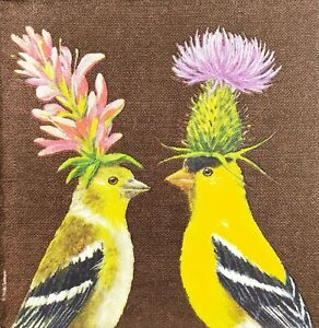 S244# 3 x Single SMALL Paper Napkins For Decoupage Two Goldfinch Bird Flower Hat