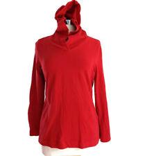 PURE JILL Hoodie Medium Red 100% Cotton Long Sleeve Pullover Sweatshirt