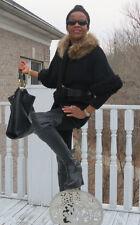 Midi length Designer Raccoon fur collar trim black Coat jacket stroller S-6