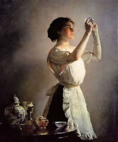 Oil painting joseph rodefer de camp - the blue cup nice young woman by table @@@