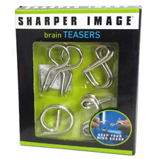 Sharper Image Wire Metal 4 Piece Teaser Twisted Puzzles Set Brain Mind Toy Gift