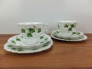 Vintage Pair COLCLOUGH Green Ivy Leaf Tea Cup Trio Sets