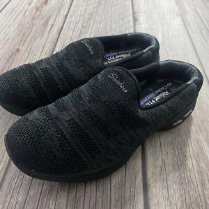 Skechers Women's Commute Time Knitastic Black Slip On Sneakers Size 5.5 44915