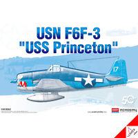 "Academy 1/48 USN F6F-3 ""USS Princeton"" Hobby Plastic model kit #12332 New"