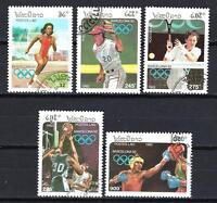 JO verano Laos (28) serie completo de 5 sellos matasellados