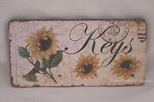 Shabby Chic Sunflower Keys Key Rack Holder 4 Hooks Wooden Sg1736