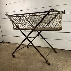 Victorian Iron Framed Folding Cot Childs Bed on Castors