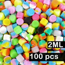 100 Pack 2ml Silicone Containers 2 ml Mixed Colors Nonstick Jars Wholesale Lot