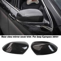 Carbon fiber Grian Rear view Mirror Cover Trim For Jeep Cherokee 2014-2019 Pair
