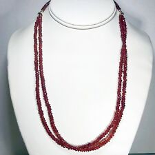 .925 Sterling Silver Double Strand Faceted Red Garnet Beaded Necklace 18-20""
