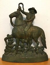 Rare Antique Buffalo Bill Cast Iron Doorstop Cowboy Horse Western Americana