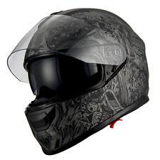 1Storm Motorcycle Full Face Helmet Dual Lens Sun Visor Monster Matt Skull Black