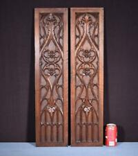 *Pair of Gothic Carved Architectural Panels/Trim in Solid Walnut Wood Salvage