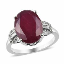 925 Sterling Silver Ruby White Diamond Cocktail Ring Ct 13.2 I Color I3 Clarity