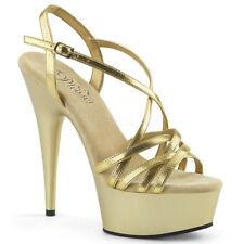 """6"""" Gold Platform Stripper Heels Pole Dance Fitness Class Basic Pleaser Shoes"""